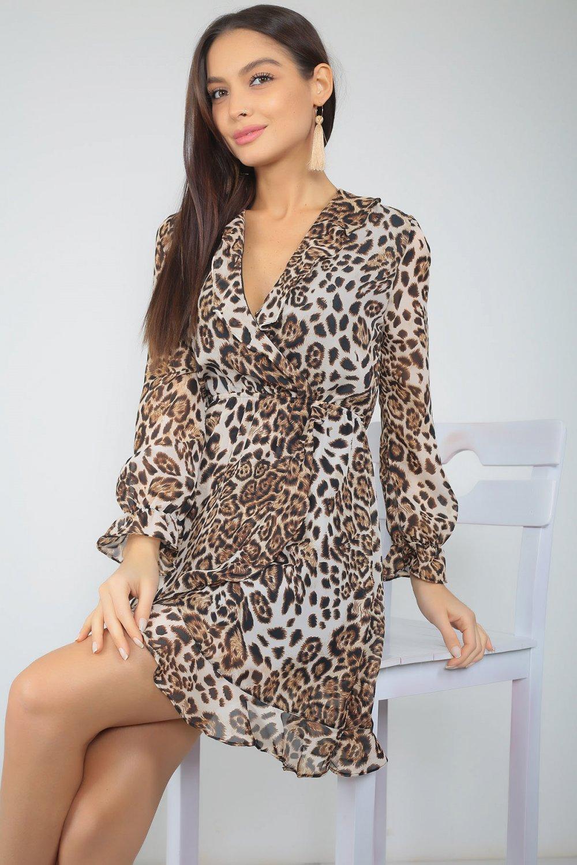 1e07974ab0d2e Size Özel Saygı Kahverengi Kruvaze Yaka Leopar Desen Şifon Mini Elbise
