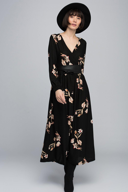 1e69ce82912d2 Cotton Mood Siyah Ekru Krep Kruvaze Beli ve Kol Ucu Lastikli Uzun Elbise