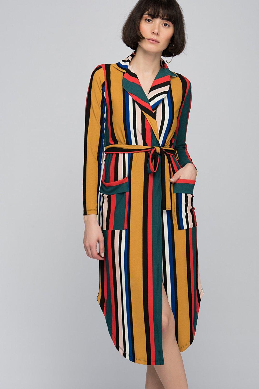 f155606e17d4c Cotton Mood Sarı Hardal Mercan Krep Kruvaze Ceket Yaka Cepli Kuşaklı Midi  Elbise