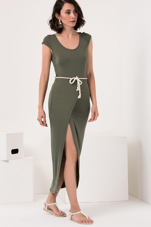 df871edab7944 Olgun Orkun Haki Askılı Uzun Elbise | ElbiseBul