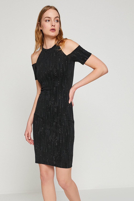 6cad483151a8e Koton Omzu Açık Siyah Mini Abiye Elbise | ElbiseBul