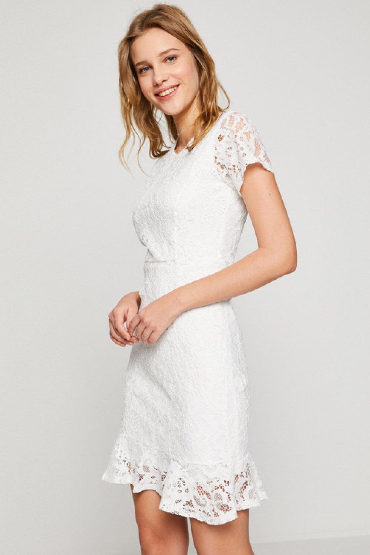 19f7e279f40cb Koton Dantel Elbise Beyaz | ElbiseBul