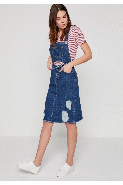 561ae887e31c6 Koton Lacivert Düğme Detaylı Jean Midi Elbise | ElbiseBul