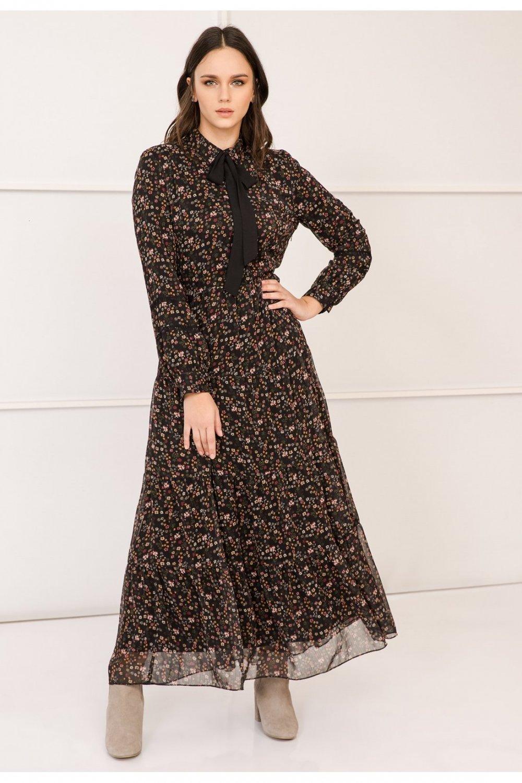 b119483786815 Lc Waikiki Çiçek Desenli Uzun Şifon Elbise | ElbiseBul