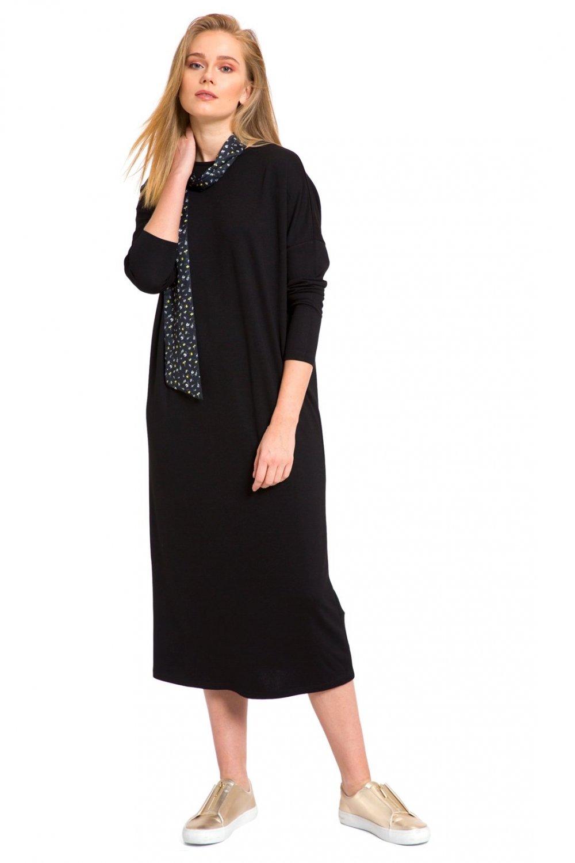 2fd4527f78fe2 Lc Waikiki New Black Düz Salaş Midi Elbise | ElbiseBul