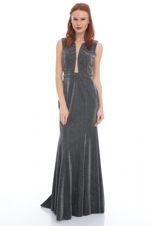 2dc50a633f693 Pierre Cardin Siyah Dekolteli Uzun Abiye Elbise | ElbiseBul