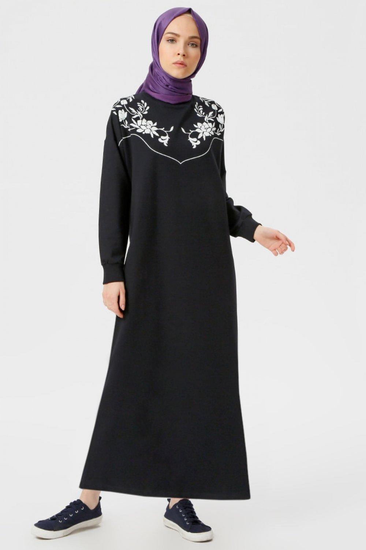 9262c247ee235 Benin Lacivert Baskılı Elbise | ElbiseBul
