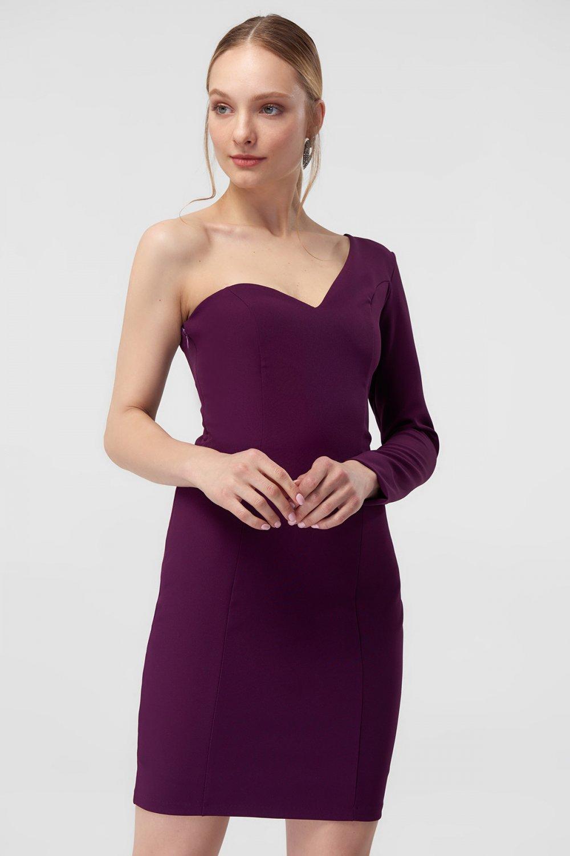 cd6991832c2e1 Trendyolmilla Mor Tek Omuzlu Mini Abiye Elbise   ElbiseBul