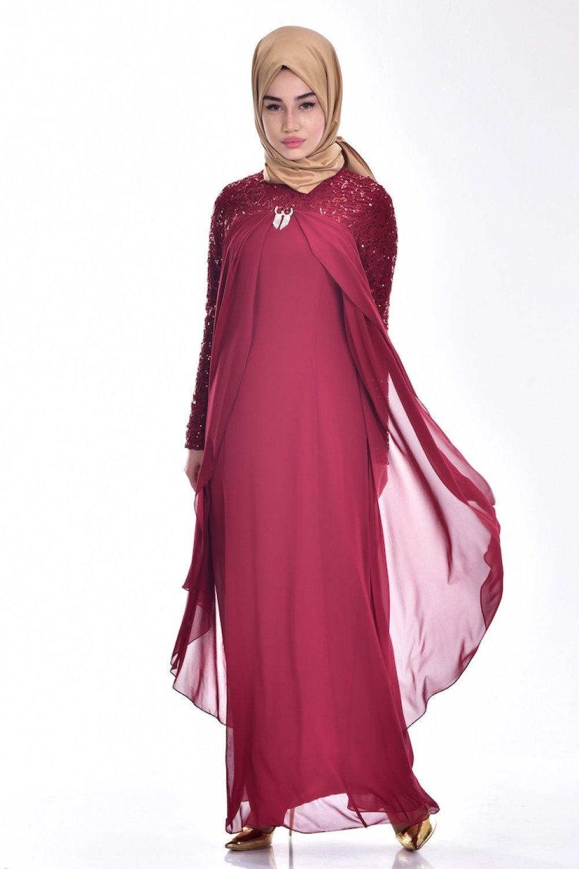 22b259ec3a716 Sefamerve Bordo Broş Detaylı Şifon Abiye Elbise   ElbiseBul