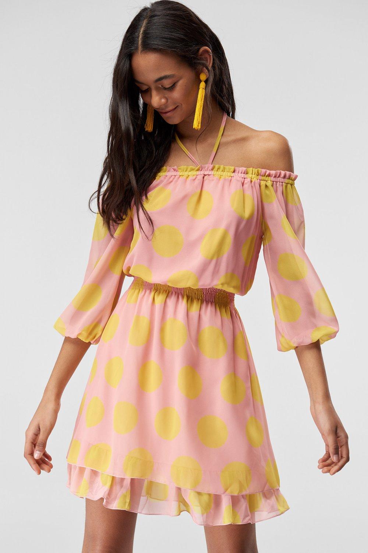 dd7ff1eb9e6ab Trendyolmilla Çok Renkli Puantiyeli Mini Elbise | ElbiseBul