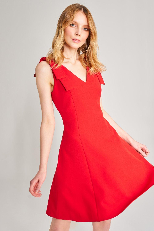 1e8ebe8877318 Agenda Kırmızı Kloş Mini Elbise   ElbiseBul