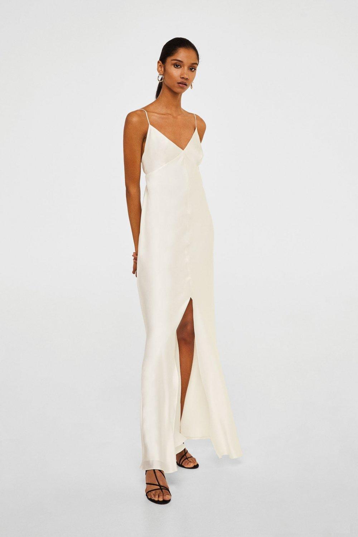 ef5cada11d16f Mango Askılı Kırık Beyaz İpekli Uzun Abiye Elbise   ElbiseBul