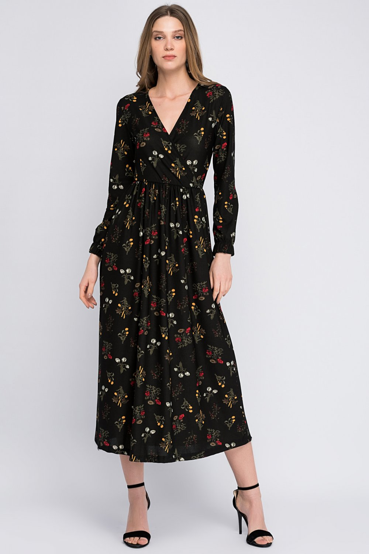8cd4996176859 Cotton Mood Siyah Krep Kruvaze Beli Lastikli Uzun Elbise | ElbiseBul