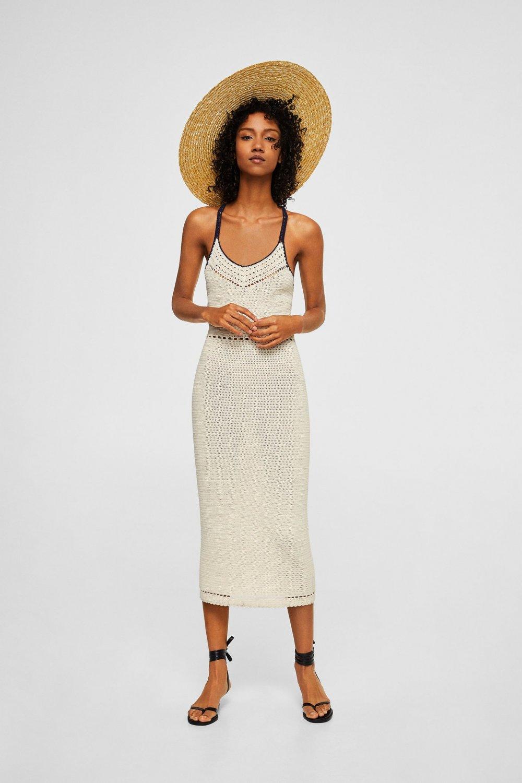 801a457ee7b20 Mango Askılı Ekrü Tığ İşlemeli Midi Elbise   ElbiseBul