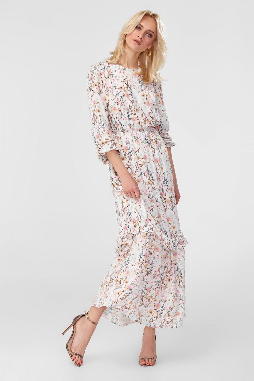 34a75e7cd8591 Trendyolmilla Ekru Desenli Uzun Elbise | ElbiseBul