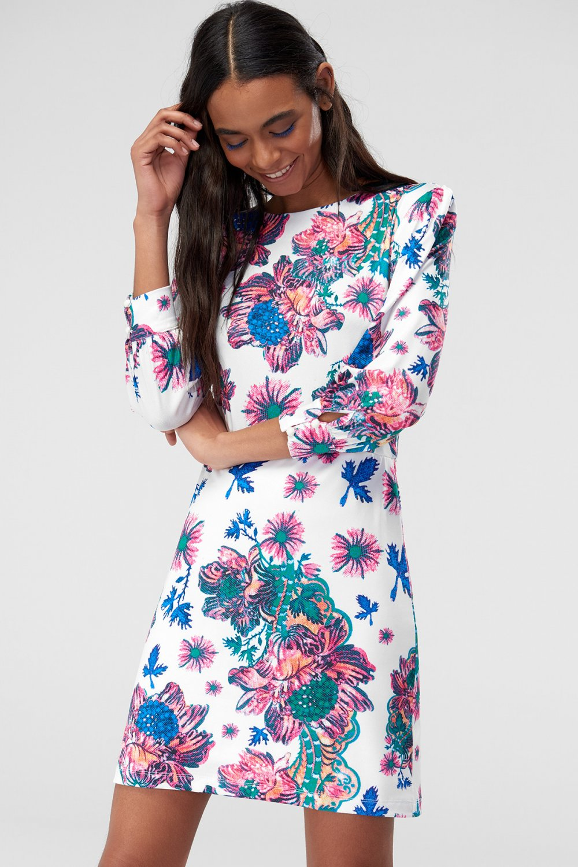 54a8eb5a4be7c Trendyolmilla Ekru Desenli Örme Mini Elbise | ElbiseBul