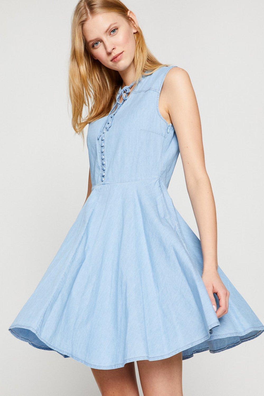 158340bc0f92a Koton Kolsuz Jean İndigo Taş Mini Elbise | ElbiseBul
