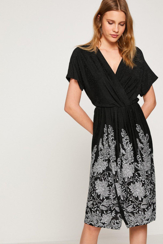 fc106caadd877 Koton İşlemeli Siyah Midi Elbise | ElbiseBul