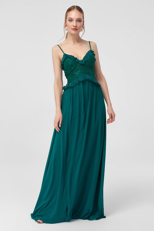 3ff4e4b4401c5 Trendyolmilla Askılı Zümrüt Yeşili Fırfır Detaylı Uzun Abiye Elbise ...