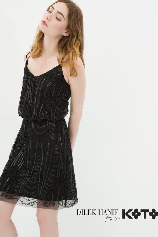 14b053e2ffd5a Koton Dilek Hanif For Koton Siyah Mini Abiye Elbise   ElbiseBul