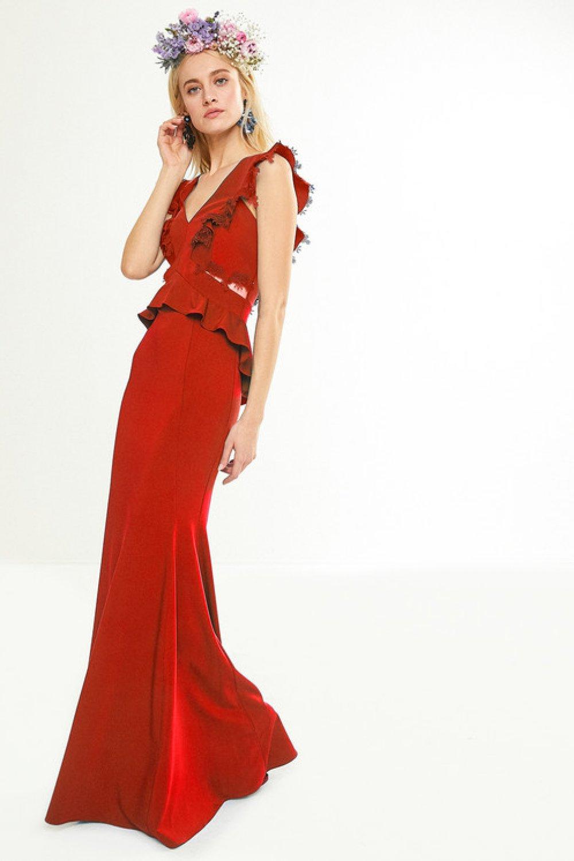 d379a46e64af3 Koton Zeynep Tosun For Koton Kırmızı Uzun Elbise | ElbiseBul