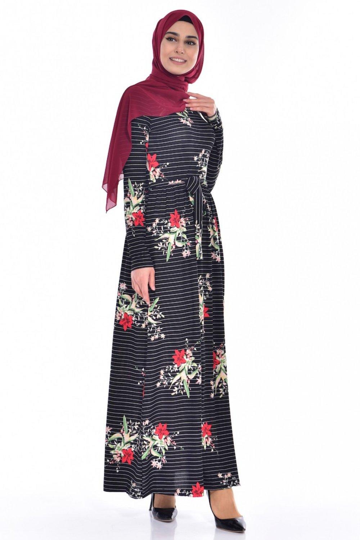 49819388cf5b9 Sefamerve Beyaz Siyah Çiçek Desenli Elbise   ElbiseBul