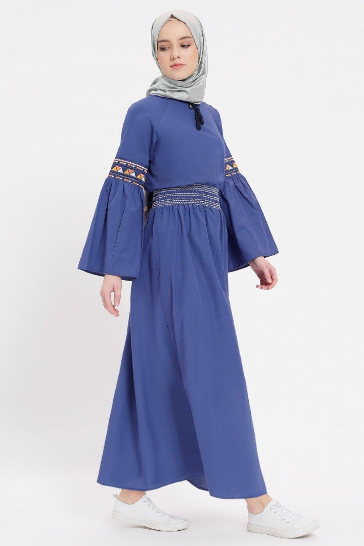 278c85524f61d Benin Lacivert Nakışlı Beli Lastikli Elbise | ElbiseBul