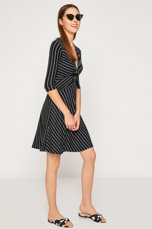 8d2961c80e8b0 Koton Çizgili Siyah Çizgili Mini Elbise | ElbiseBul