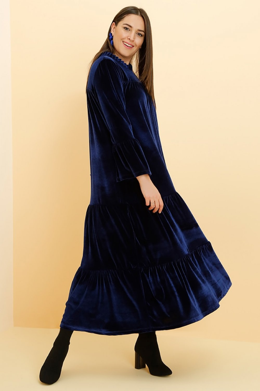 533aceca0e0c8 Alia Lacivert Kadife Elbise | ElbiseBul