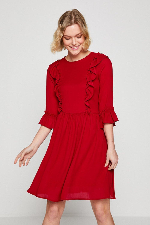 cc8989f544330 Koton Fırfır Detaylı Bordo Mini Elbise | ElbiseBul