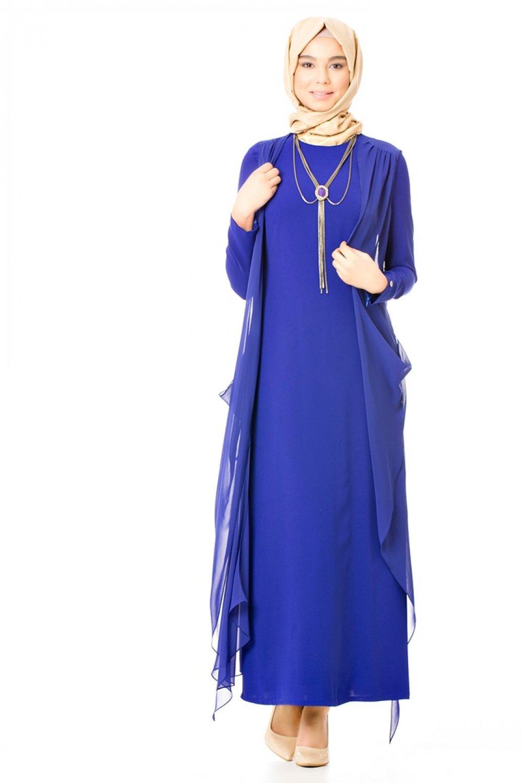ef302cb19cf84 Armine Saks Şifon Parçalı Abiye Elbise | ElbiseBul