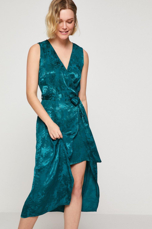 aebb06d727ed6 Koton Desenli Yeşil Midi Elbise | ElbiseBul
