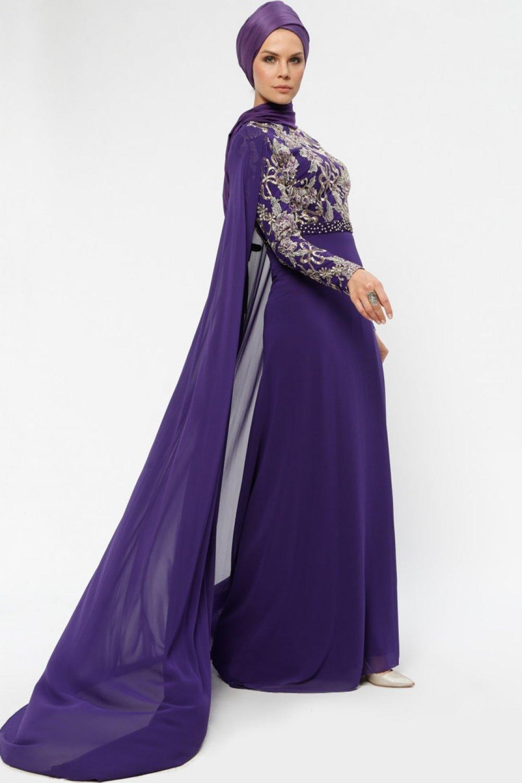 d0486b1a0d74a Armine Mor Şifon Parçalı Abiye Elbise | ElbiseBul