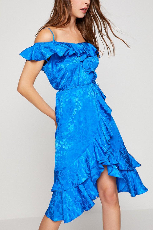 6c86d88696864 Koton Fırfır Detaylı Saks Mavi Midi Abiye Elbise | ElbiseBul