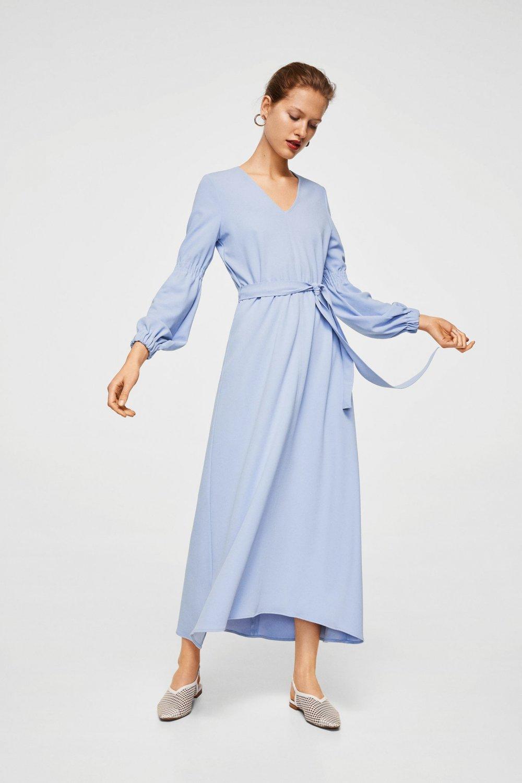 7f71d628c89cd Mango Kuşak Kemerli Uzun Elbise | ElbiseBul