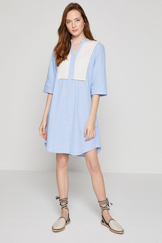 e26397e67b2f9 Koton Keten İşlemeli Açık Mavi Midi Elbise | ElbiseBul