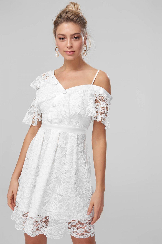 48a406079788b Trendyolmilla Beyaz Düğme Detaylı Dantel Mini Abiye Elbise | ElbiseBul