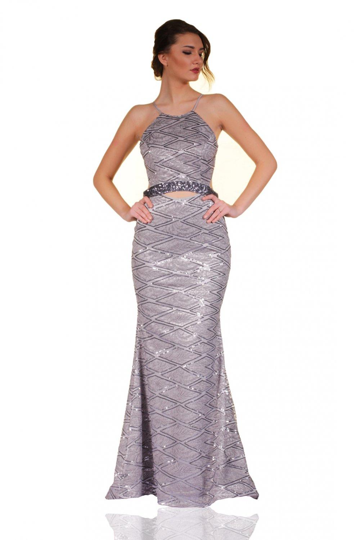 a014fa77d847b Pierre Cardin Askılı Gümüş Uzun Abiye Elbise | ElbiseBul