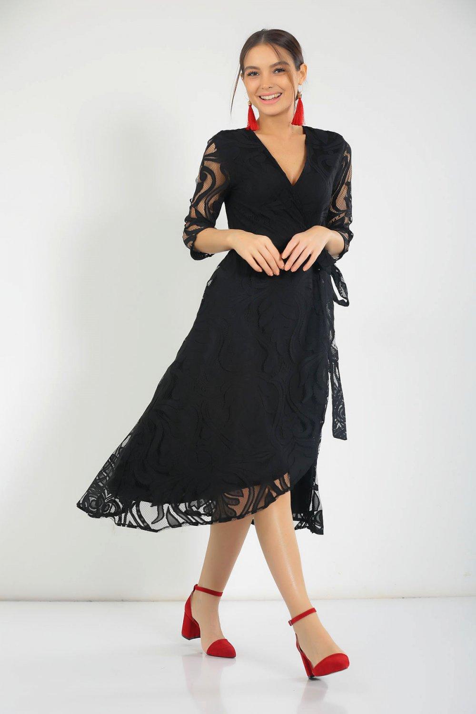 211ec9cfbdc88 Size Özel Saygı Siyah Kruvaze Astarlı Dantel Midi Abiye Elbise ...