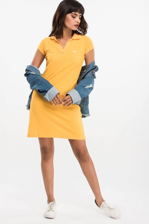 9c18254ca318a Sateen Sarı Mini Elbise | ElbiseBul