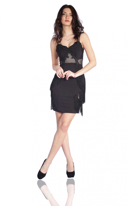 2f8b3493a063d 6ixty8ight Siyah Mini Abiye Elbise | ElbiseBul