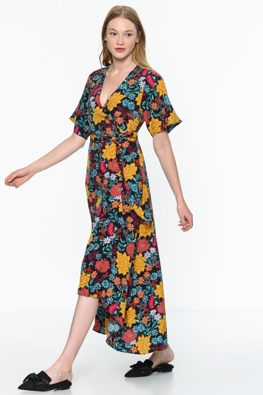 95ab3beb9e203 Mavi Siyah Kısa Kollu V Yaka Çiçekli Uzun Elbise | ElbiseBul