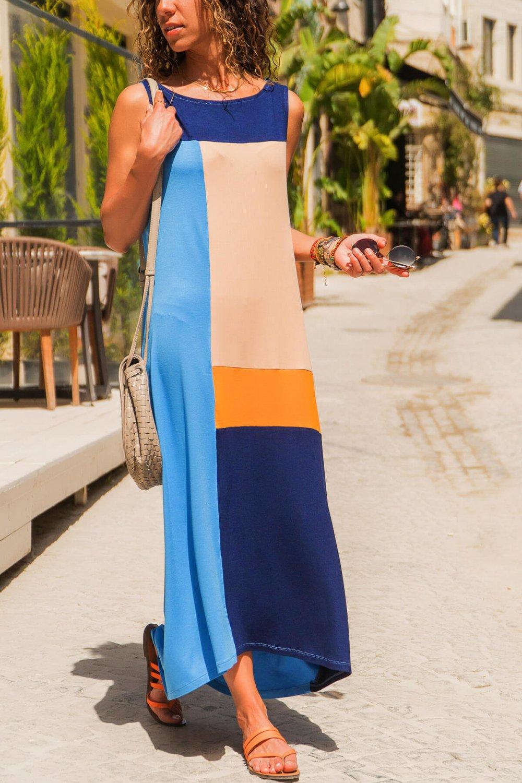 d2756bc77e6c9 Trend: Alaçatı Stili Mavi Lacivert Bloklu Salaş Uzun Elbise | ElbiseBul