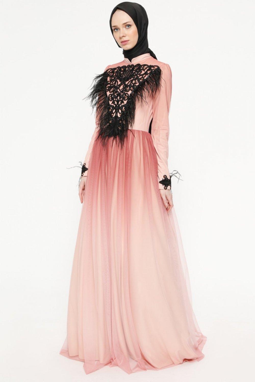 0aa319dc1c124 Sema Şimşek Pudra Tüy Detaylı Abiye Elbise | ElbiseBul