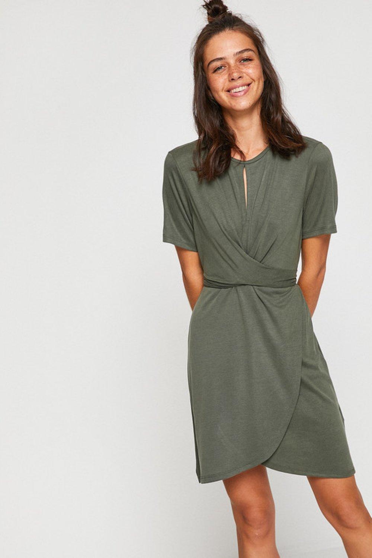 f4754dd8b988f Koton Yaka Detaylı Haki Mini Elbise | ElbiseBul