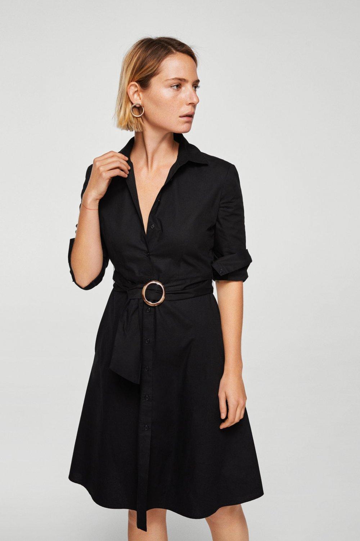 ac971ea83f0b1 Mango Siyah Kemerli Gömlek Midi Elbise | ElbiseBul