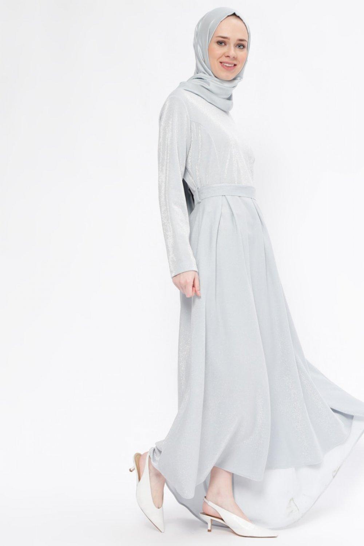 32ad456a36188 Beha Tesettür Gri Kendinden Simli Elbise | ElbiseBul