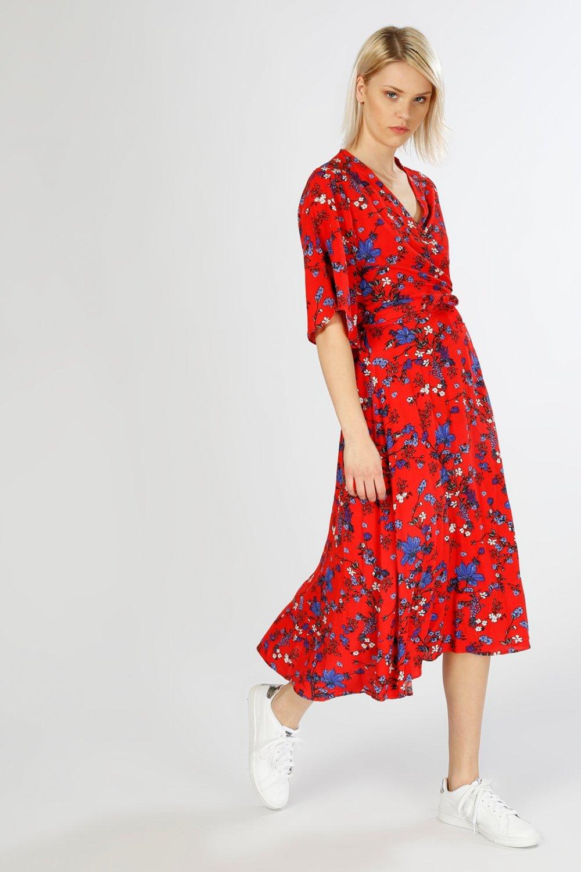 bc5388946ec6d Limon Company Renkli Kısa Kollu Çiçek Desenli Uzun Elbise | ElbiseBul