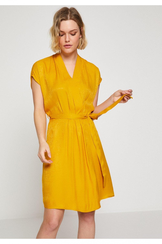 a072b6bdf207c Koton Sarı Kısa Kollu Midi Elbise | ElbiseBul