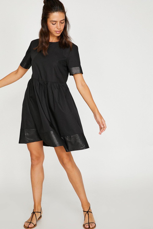 cdf2805d53bde Koton Deri Detaylı Siyah Mini Elbise | ElbiseBul